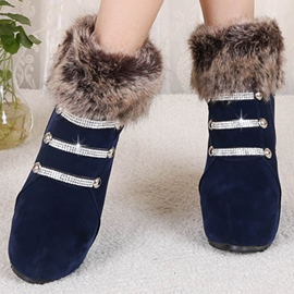 Ericdress Warm Furry Rhinestone Wedge Ankle Boots