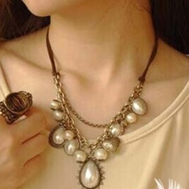 Ericdress Double Layers Pearl Leather Necklace