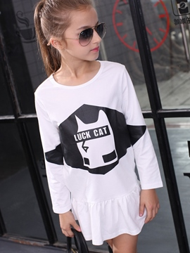 Ericdress Falbala Patchwork Print Tee Girls Dress