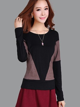 Ericdress Loose Color Block Casual T-Shirt