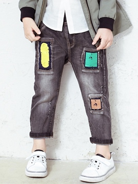 Ericdress Colored Printing Appliques Denim Boys Bottoms