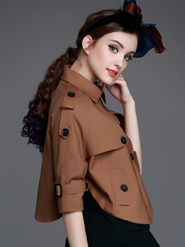 Ericdress Solid Color Loose Asymmetric Trench Coat