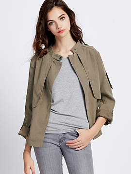 Ericdress Solid Color One-Button Loose Trench Coat