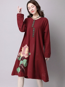 Ericdress Autumn Ethic Print Long Sleeve Casual Dress