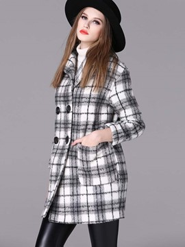 Ericdress Loose Double-Breasted Plaid Coat