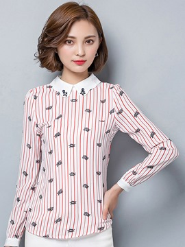 Ericdress Stripped Printed Peter Pan Blouse