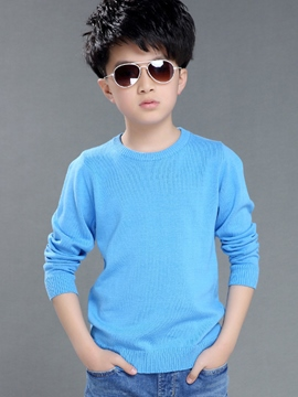 Ericdress Korean Solid Color Knitting Thicker Section Boys Tops