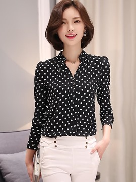 Ericdress V-Neck Polka Dots Blouse