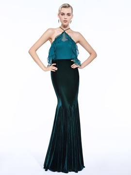 Ericdress Halter Sheath Beading Ruffles Floor-Length Evening Dress