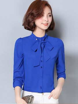 Ericdress Solid Color Lace-Up Casual Blouse