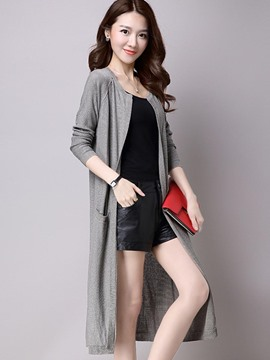 Ericdress Solid Color Pocket Casual Knitwear