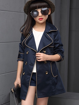 Ericdress Contrast-Trim Double-Breasted Lapel Collar Girls Outerwears