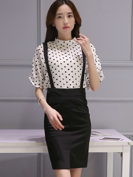Ericdress Sweet Polka Dots Blouse Suit