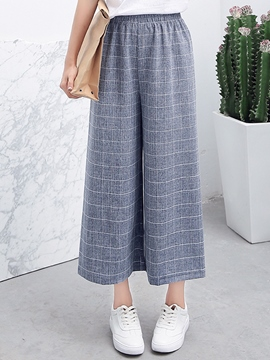 Ericdress Simple Plaid Wide Legs Pants