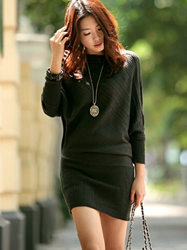 Ericdress Plain Batwing Sweater Dress
