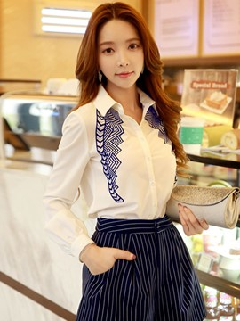Ericdress Printed Turn-Down Casual Blouse