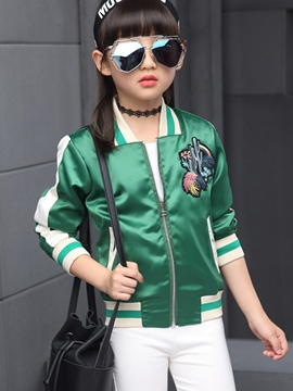 Ericdress Embroidery Strip Patchwork Thread Collar Girls Outerwears