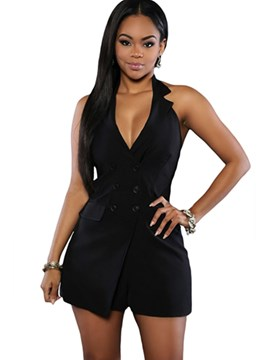 Ericdress Double-Breasted Halter Rompers