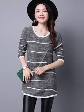 Ericdress Loose Stripped Casual Knitwear