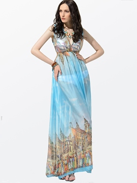 Ericdress V-Neck Blue Printing Maxi Dress