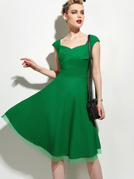 Ericdress Plain Pleated Casual Dress