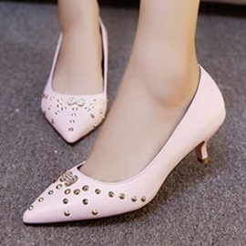 Ericdress Rivets Point Toe Mid Heel Pumps