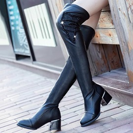 Ericdress Round Toe Chunky Knee High Boots