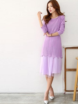 Ericdress Sweet Knitwear Dress Suit