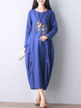 Ericdress Ethic Style Round Neck Long Sleeve Maxi Dress