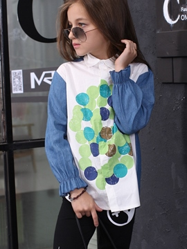 Ericdress Lapel Collar Denim Polka Dots Printing Ink Girls Tops