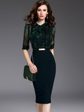 Ericdress Formal Patchwork Half Sleeve Bodycon Dress