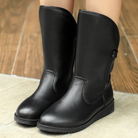Ericdress Simple PU Round Toe Flat Boots