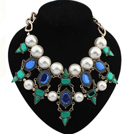 Ericdress Gemstones & Pearls Decorated Necklace