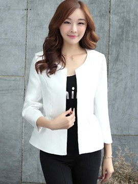 Ericdress Loose Solid Color Wrapped Jacket