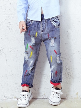 Ericdress Denim Frayed Destroy Mixed-Print Paint Boys Bottoms