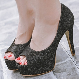 Ericdress Sequins Peep Toe Platform Stiletto Sandals
