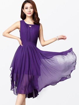 Ericdress Solid Color Asymmetric Pleated Casual Dress
