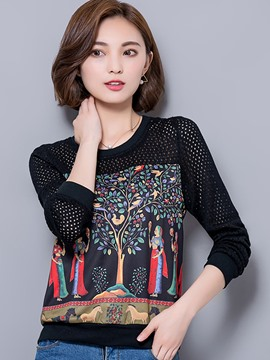 Ericdress Black Printed Hollow T-Shirt