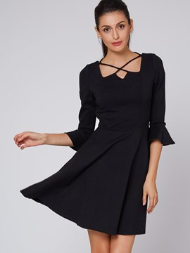Ericdress Solid Color Flare Sleeve Hollow Casual Dress