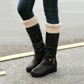 Popular Buckled Round Toe Knee High Boots