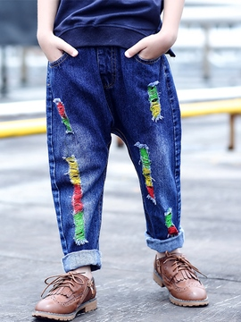 Ericdress Denim Colored Printing Frayed Appliques Boys Bottoms