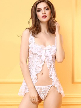Ericdress Nightwear White Lace See-Through Babydoll