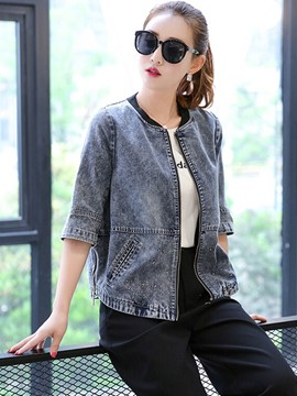 Ericdress Solid Color Loose Casual Denim Outerwear