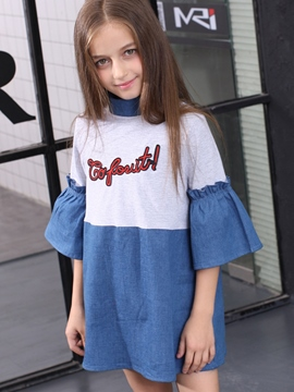 Ericdress Patchwork Flare Sleeve Stand Collar Letter Print Girls Dress