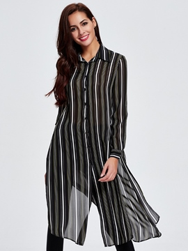 Ericdress Stripe Long Blouse