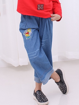Ericdress Denim Wide Leg Patchwork Cartoon Patchwork Girls Bottoms