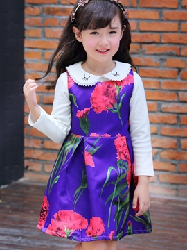 Ericdress Embroidery Peter Pan Collar Floral Printed Two-Piece Girls Outfits