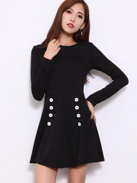 Ericdress Plain Buttons Patchwork Long Sleeve Casual Dress