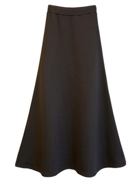 Ericdress Solid Color Simple Fleece Liner Maxi Skirt