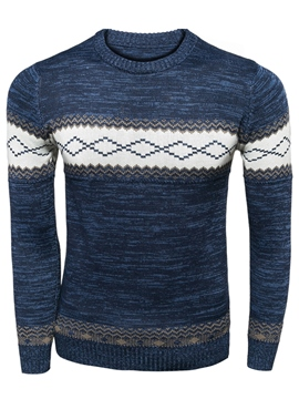 Ericdress Color Block Crew Neck Men's Sweater